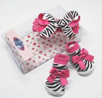 2015 new gift for baby girl,baby socks and headbands christmas gift set