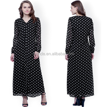 a7d30efd77 Muslim Style Long Sleeve Summer Black Polka Dot Print Shirt Maxi Dress  Bohemian Cute Women Sexy