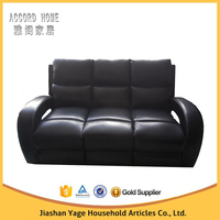 High quality living room black leather electric recliner 3 seater sofa