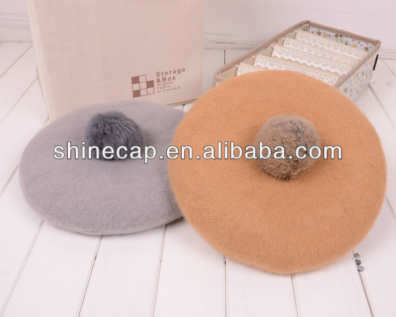 Wool beret with rabbit hair ball decoration winter hats with ball on top