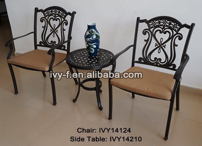 Muebles porche ronda exterior de metal side table mesa y for Aluminio productos de fundicion muebles de jardin