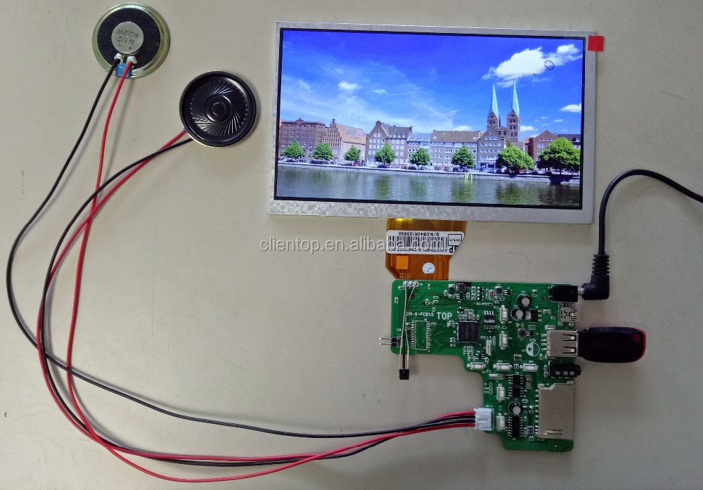 DPF usage IR+speaker+Audio+USB LCD controller board +7 inch AT070TN90 LCD panel 800*480+Remote control +speakers