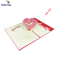 Customized design heart shape musical 3d pop up birthday greeting cards invitation