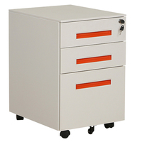Office metal furniture storage 3 drawer file cabinet with wheels