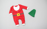 Christmas baby clothes romper and hat red cotton pajamas clothes