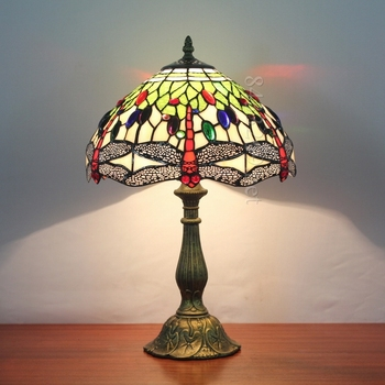 12 Tiffany Dragonfly Design For Table Lamp With Material Of Stained
