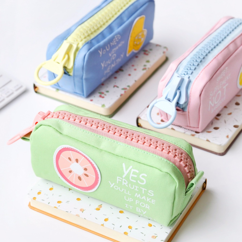 New design Fruit Printing Canvas Large Zipper School Pencil Case For children pencil case gift