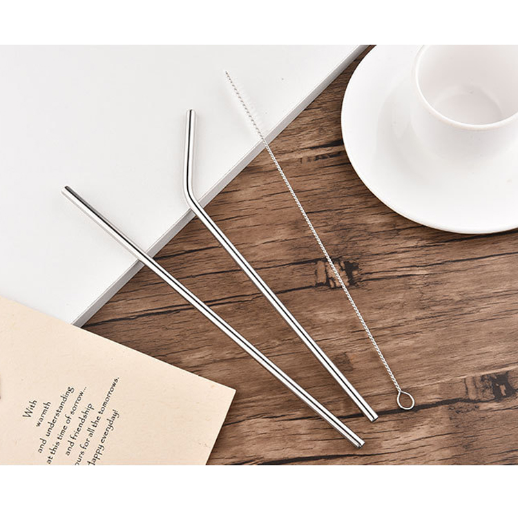 6pcs drinking straws stainless steel & reusable brush