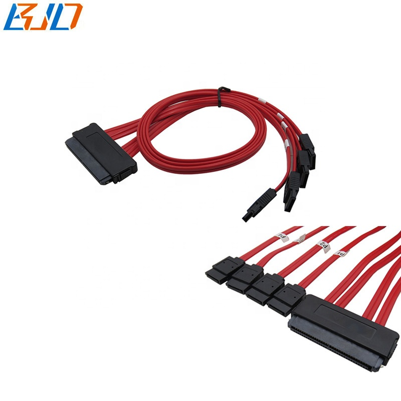 SAS Controller SFF-8484 32 Pin to 2 SATA 7 Pin HDD Cable 40cm 15 inches Red