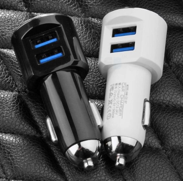Two USB Side Way Drop 5V 2.1A 2 Port Dual Car Charger Adaptor