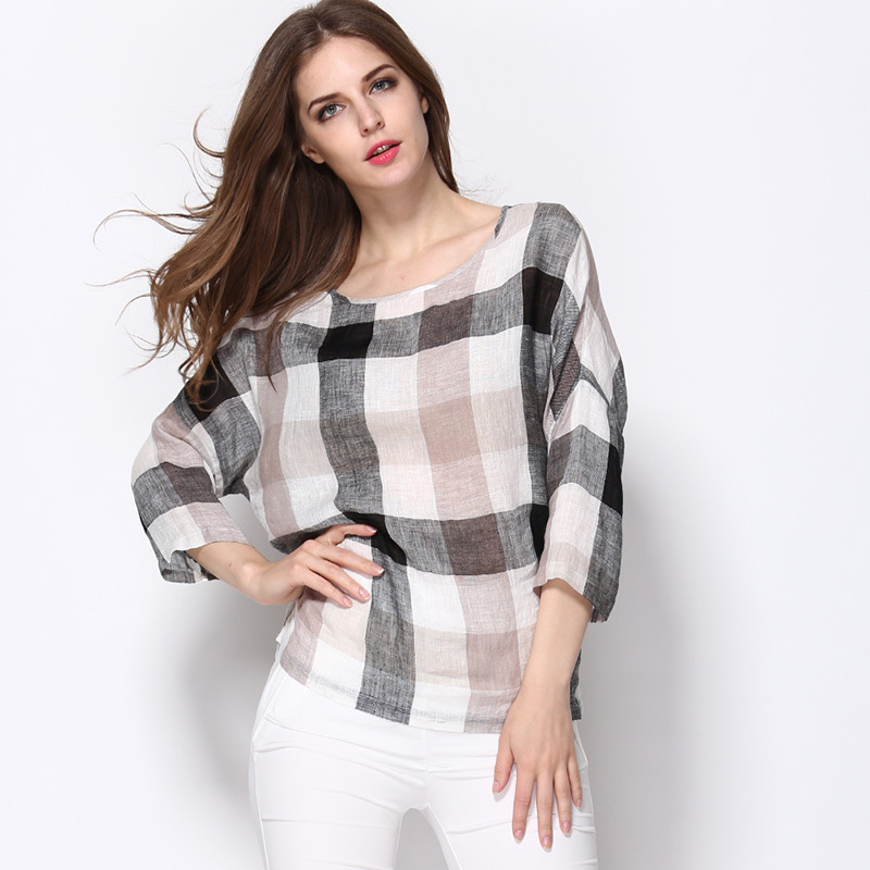 100% Linen Women Plus Size Tops Casual Plaid Three Quarter Sleeve T shirt Tops 2015 Summer Style Lady Loose O-Neck Tshirt Female