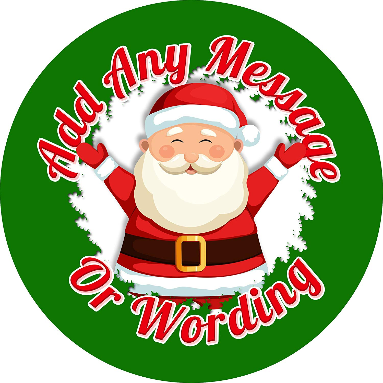 Personalised Round Santa Merry Christmas Party Stickers Labels Sweet Cones Bags