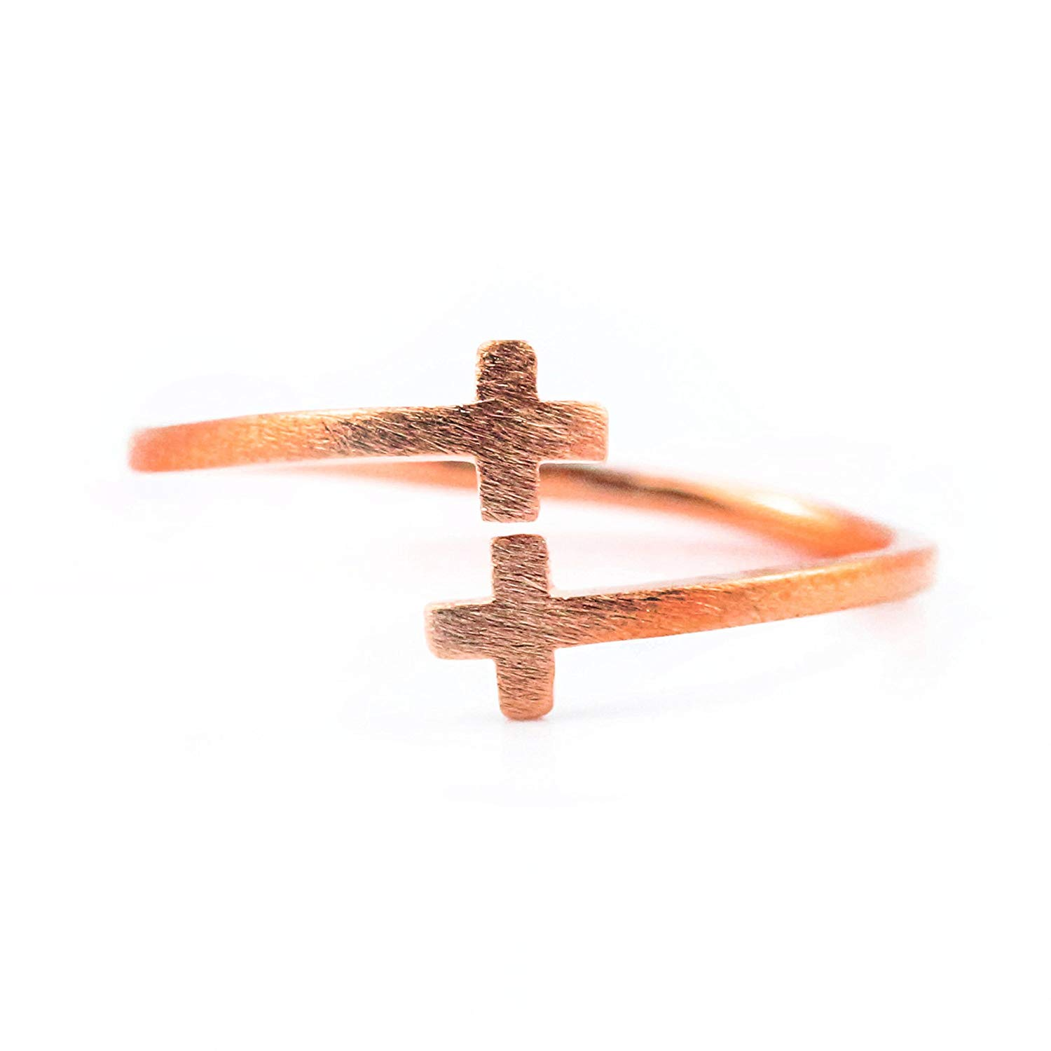 CROSS RING, Rose Gold Plated Alloy Ring, Rose Gold Ring Adjustable for Women Ring Size 5-7 Thin Stackable Ring Unique