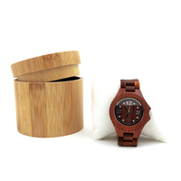 Cheap Personalized Men Storage Boxes Watches Round Pocket Wholesale Retail Custom Wrist Luxury Single Bamboo Wooden Watch Box