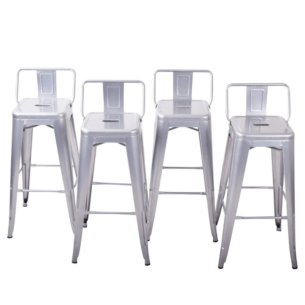 Globe House Products GHP 4-Pcs 330-Lbs Max Weight Silver Steel Counter Height Stool with Lower Backrest