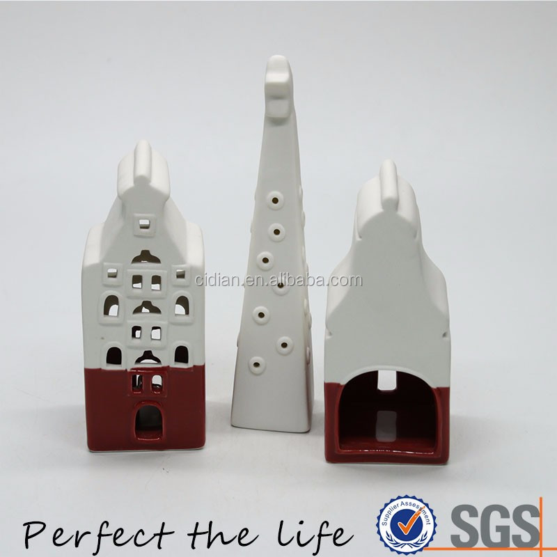 Artificial White Ceramic Holiday Christmas Village House Building Gift Set