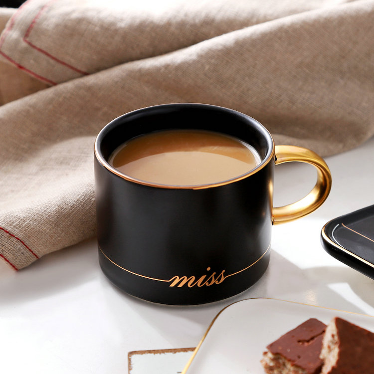 Hot selling luxury drinkware gold line custom logo ceramic espresso cups with rectangular plate