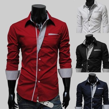 Wholesale mens shirts Mens Luxury Casual Slim Fit Stylish Solid Color Dress Shirts man shirt