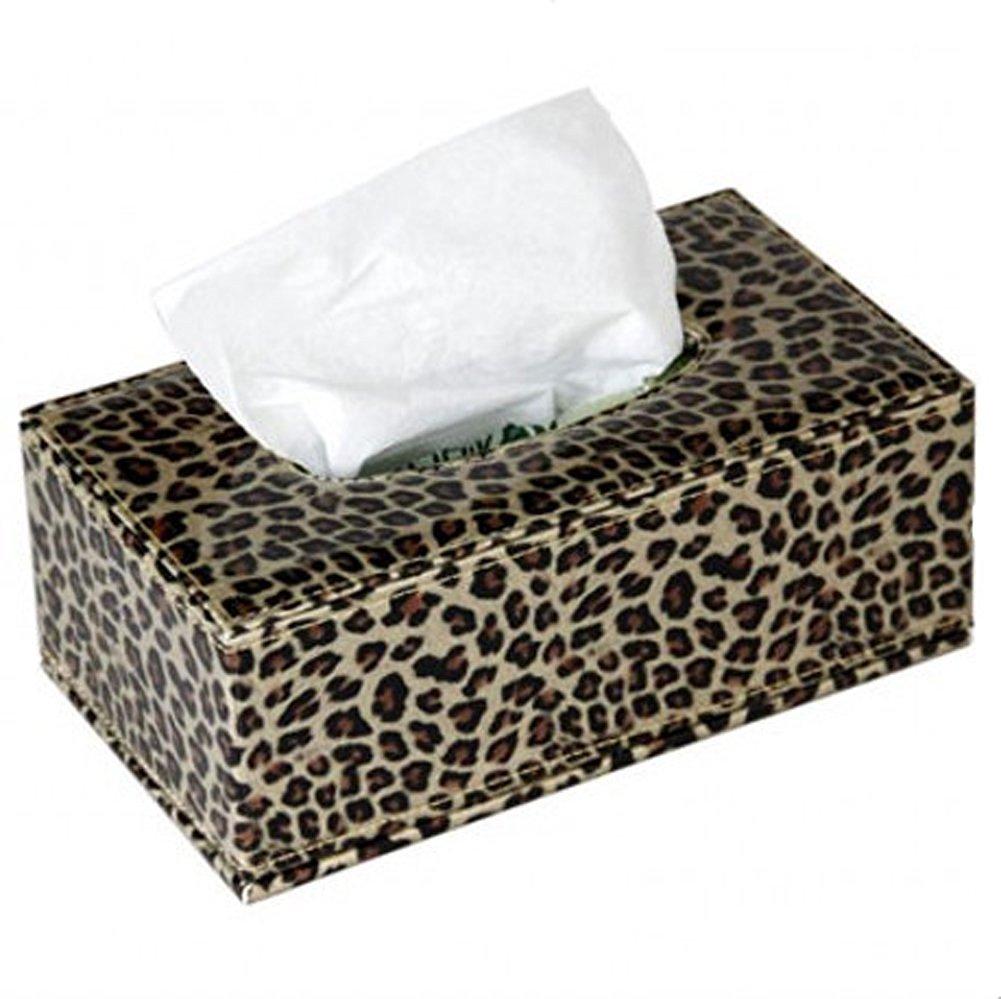 Tissue Box European Style Leopard Print Pu Leather Holder Napkin Holder Living Room Rectangular Holder Box Cover