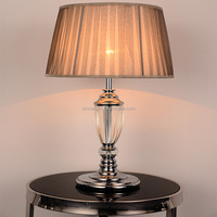 Modern Standing Bedside Metal Wooden Table Lamps With Fabric Shade ...
