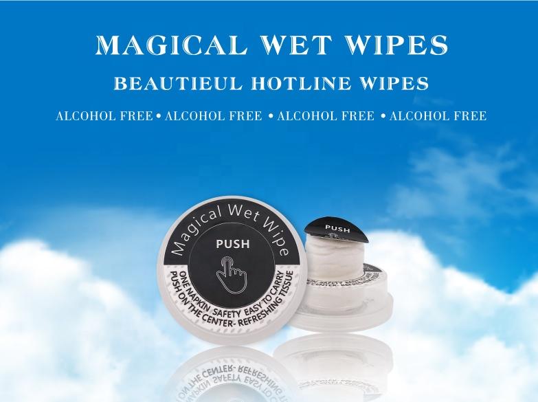 En gros magique push propre magique lingettes démaquillant coton échantillon gratuit bébé lingettes humides/poussoir démaquillant tissu humide
