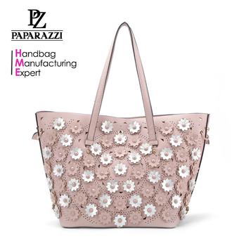 8649 2018 Latest Design Flower Decorative Laser Las Handbags Fashion Ping Bag Whole