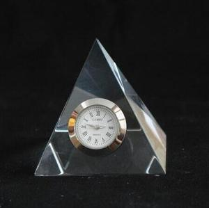 Crystal Glass Pyramid Paperweight with Clock