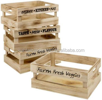 Set Of 3 Vintage Wooden Storage Box Crate Carry Handles Fruit Veg Kitchen Home Buy Antique Wood Cratespine Wood Crateswood Play Kitchen Set