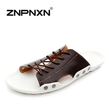 ZNPNXN New 2016 mens sandals Genuine leather cowhide sandals outdoor casual men summer leather shoes for men