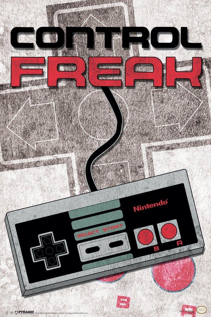 Control Freak Nintendo NES Old School Classic Vintage Video Game Controller NES 004 Poster 12x18