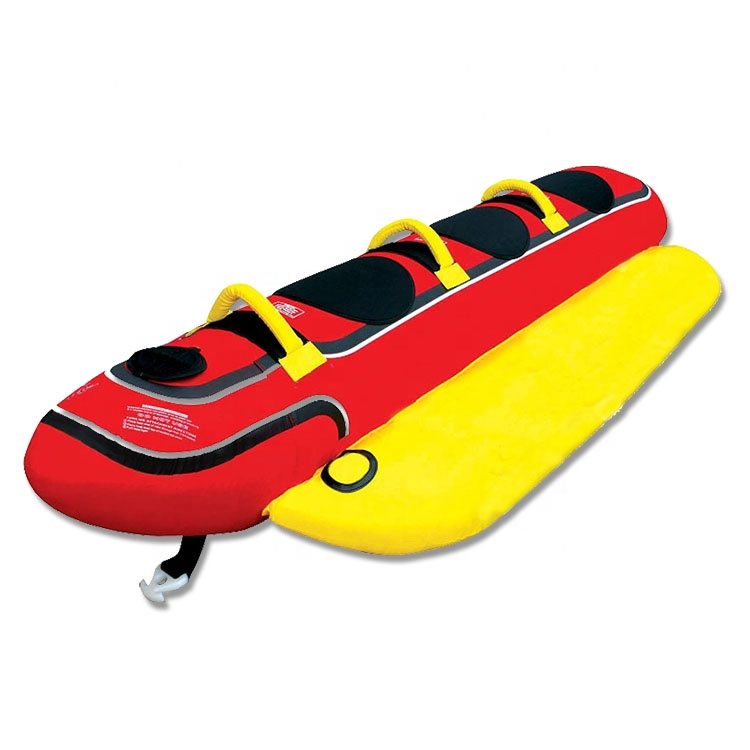 Custom  3 Person Boat Lake Tube Triple Rider Inflatable Hotdog Banana Towable Tube Boat Toys with Nylon Cover