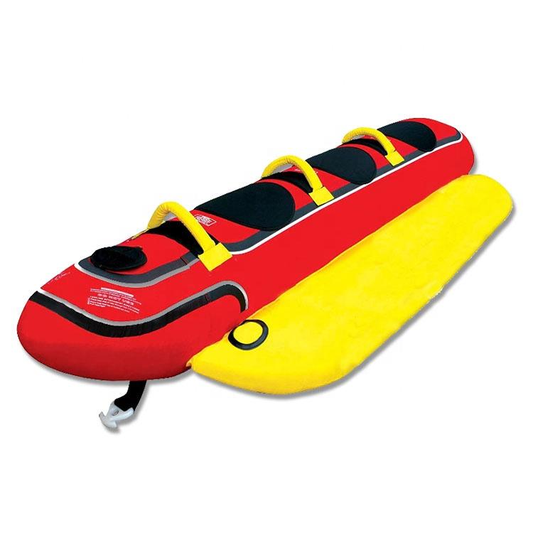 CUSTOM 3 Person Boat Lake หลอด Triple Rider Inflatable Hotdog กล้วย Towable Tube เรือของเล่นไนลอน
