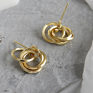 2019 trending valentines gold filled silver love knot post earrings wedding twist gold hoop small sterling silver earring