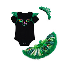 high quality best design 2017 new sets pattern three-piece sets clothing in black and green children clothing set