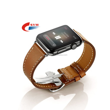 Folding Buckle Genuine Leather Band for Apple Watch Series 3/2/1 Luxury Strap Bracelet Belt