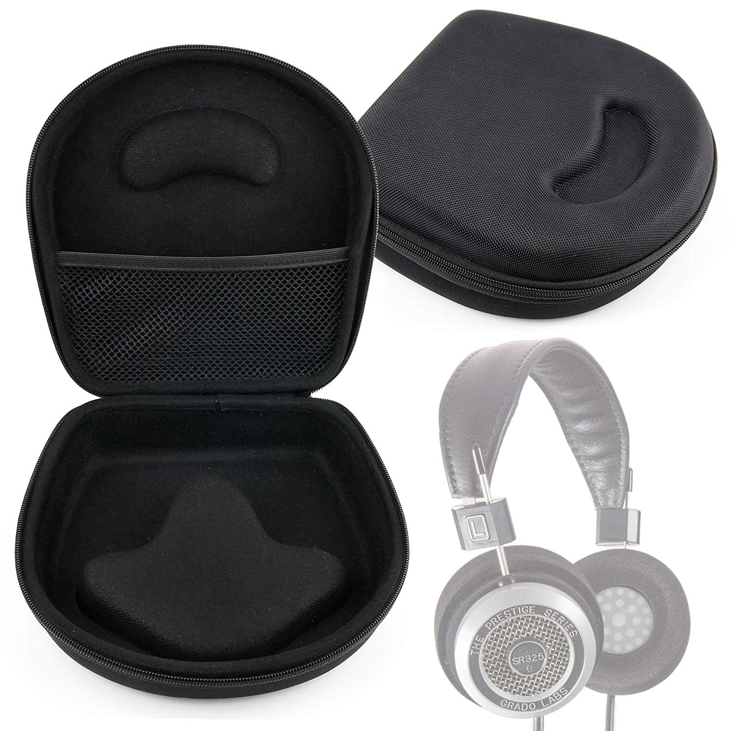 DURAGADGET Hard EVA Storage Case For Headphones/Earbuds, With Compartment (Black) For Grado: SR325is, SR225i, SR125i, SR80i, SR60i, PS1000, PS500, RS1i, RS2i, GS1000i