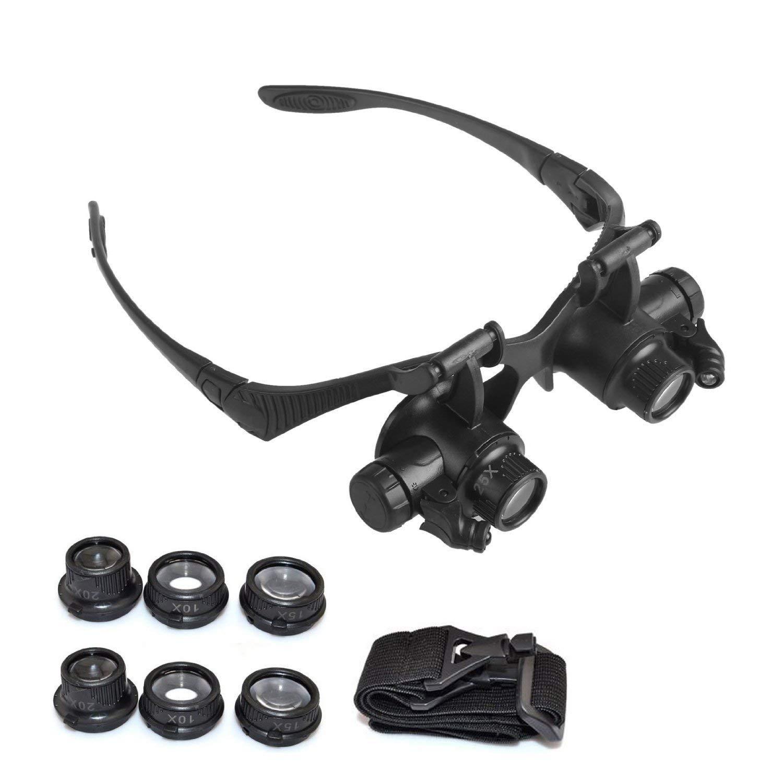 f5a58ba91d1d Get Quotations · Alotm Binocular Magnifier Glasses With LED Light 10 X 15X  20 X 25X Headband Double Eye