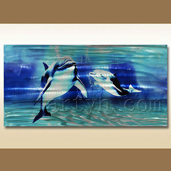 Wholesale Metal Print Aluminium Painting Lovely Dolphin Wall Art ...