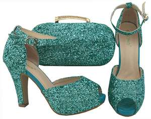 AB8492#1 slipper and handbag matching for ladies party italian rhinestone shoes and bag set