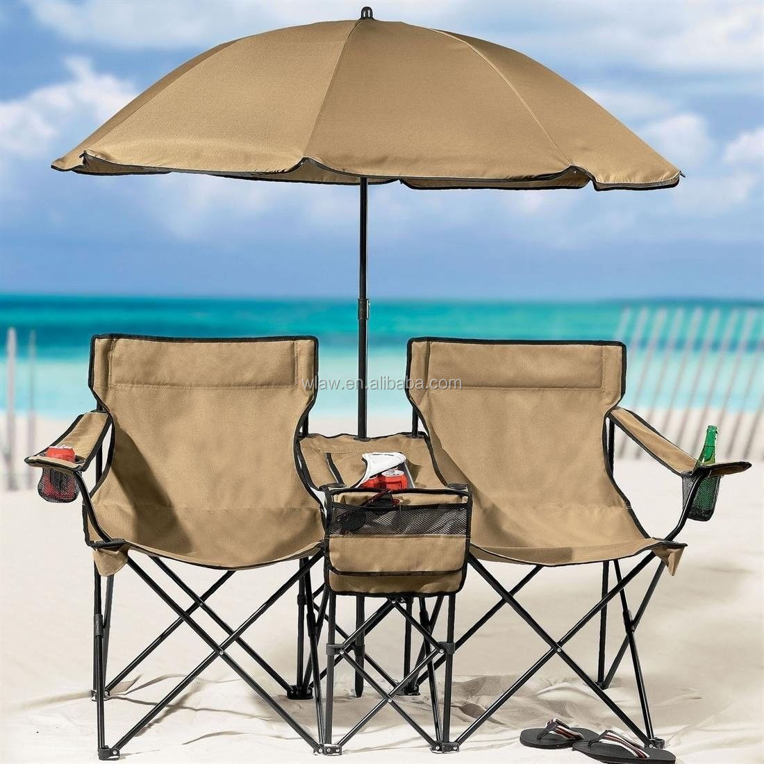 Beach Double Chair With Cooler Table And Umbrella Buy
