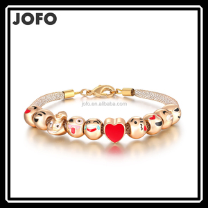 2017 New Arrival 18 K Gold Plated 10 Emoji Beads Bracelet Oil Drip Emoji Charms Bracelet Jewellery
