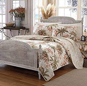 3 Piece Tan Palm Tree Quilt King Set, All Over Tropical Ocean Hawaiian Flower Trees Costal Island Bedding, Multi Floral Beach Paradise Exotic Flowers Themed, Leaf Green Beige Salmon Coral Pink