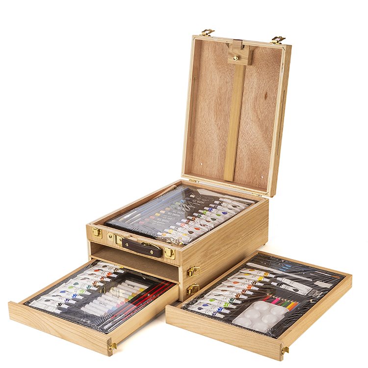 GSF Vintage 94 pcs Wooden Box Painting Art Set With Easel drawing art set for Students