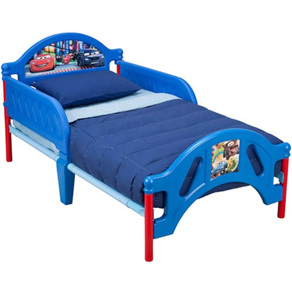 Disney Cars Toddler Transition Bed with Side Rails and Headboard / Footboard , Multi-bin Toy Chest Box Organizer, and Mattress Set Bundle Package! Get Three for One Low Price! This Set Will Look Great in Your Kids Bedroom and Fit Well with the Dressor, and Nightstand Furniture.