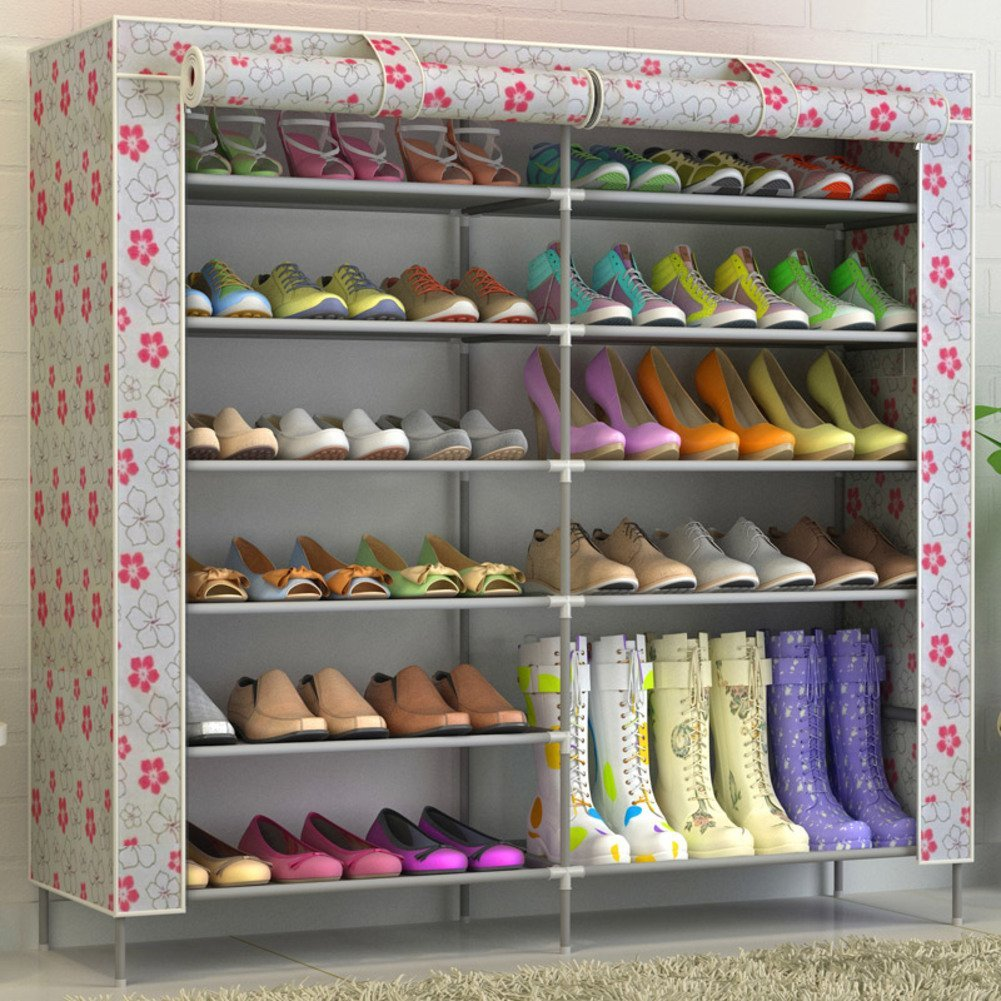 simple wrought-iron shoe/ multi-layer Assembly Shoe cabinet/Oxford cloth storage dust proof shoes-H