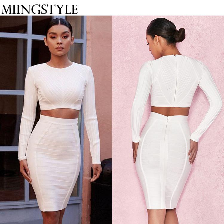 2018 Fashion elegant white long sleeve two piece slim sexy party bandage dress for women