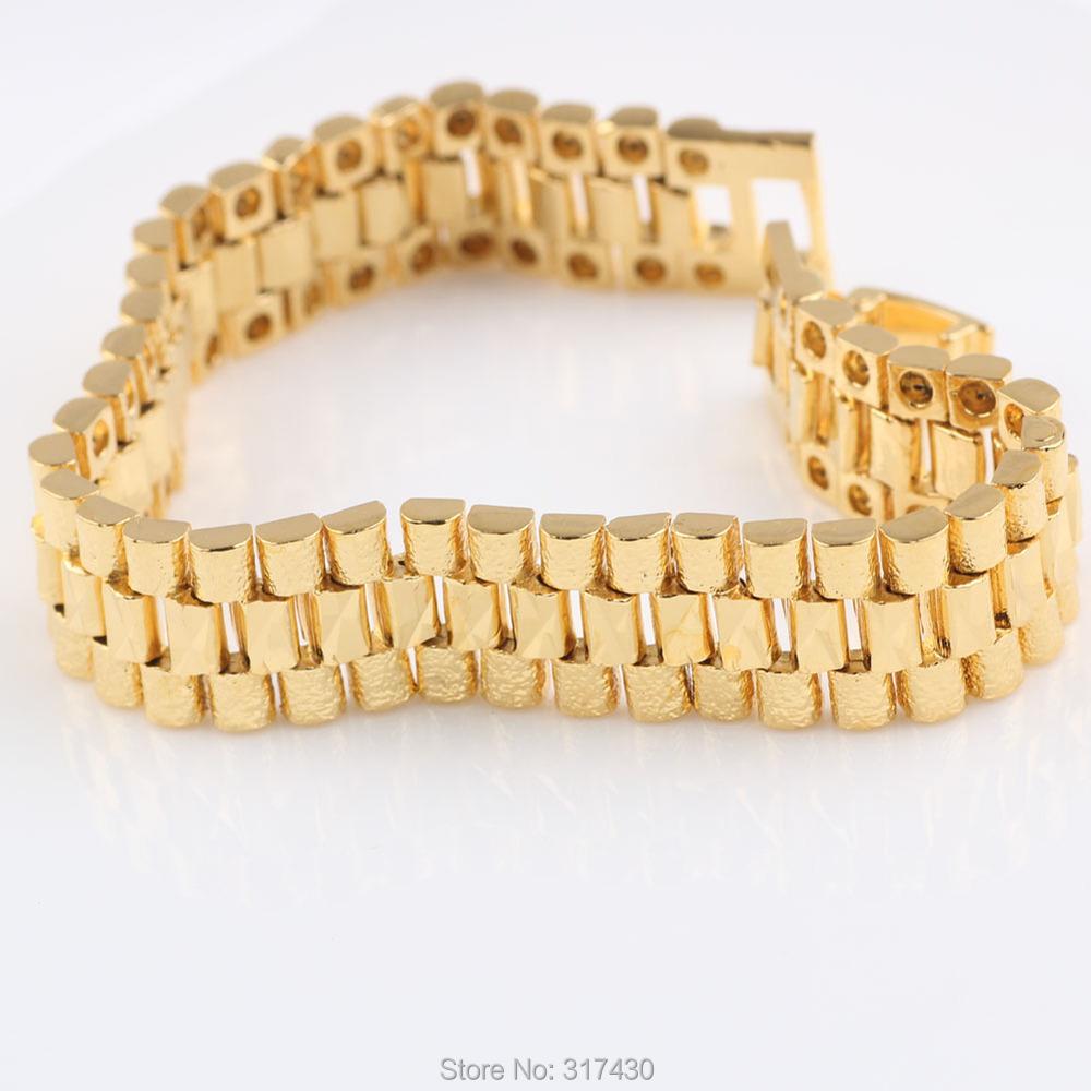 Gold Wrist Bracelet: Real 24k Yellow Gold Filled Womens Or Mens Bracelet Wide