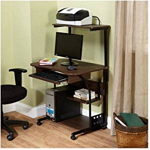 Mobile Computer Tower with Shelf,Espresso