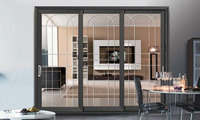 Aluminium Cladding Wood Composite Bi-Folding Door for hotel balcony