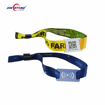 HF 13.56MHz F08 1K Event NFC RFID Festival Event Fabric Woven Proximity Wristband for Access Control